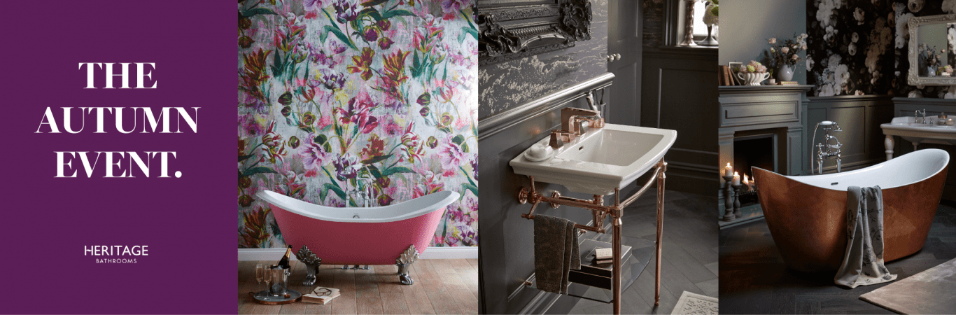 Create a stunning bathroom with fixtures by Heritage Bathrooms!